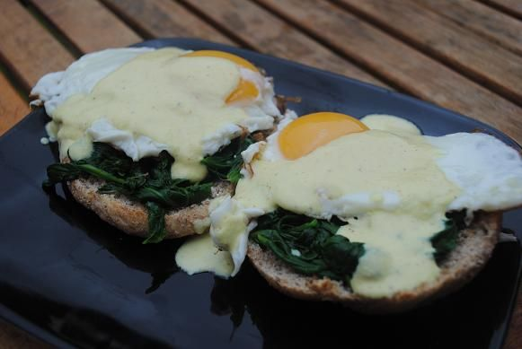 Healthy Eggs Florentine - eggs, whole wheat English muffins, spinach ...