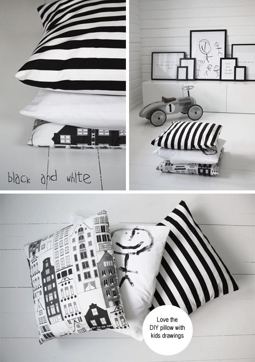 black and white kids artwork pillows
