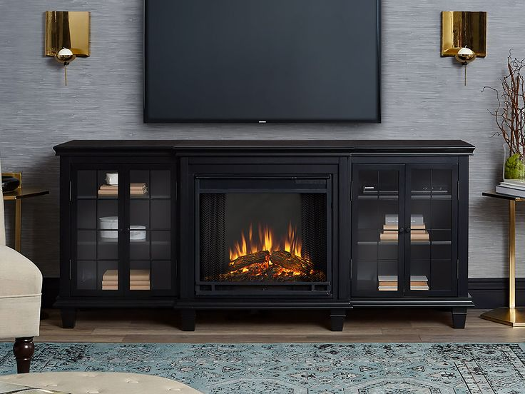 Marlowe Electric Fireplace Entertainment Center in Black - 2770E-BK