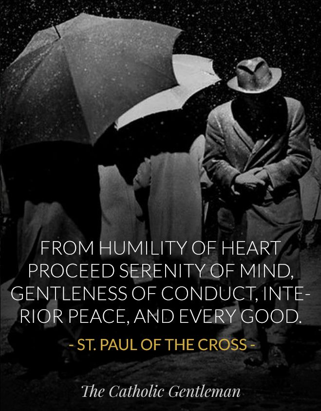 """Quote of the Day – October 29   """"From humility of heart proceed serenity of mind, gentleness of conduct, interior peace and every good.""""  …………………………………………..St Paul of the Cross (Saint of the Day) 