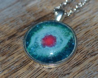 Helix Nebula  Picture Pendant Necklace - 25mm silver setting, Galaxay