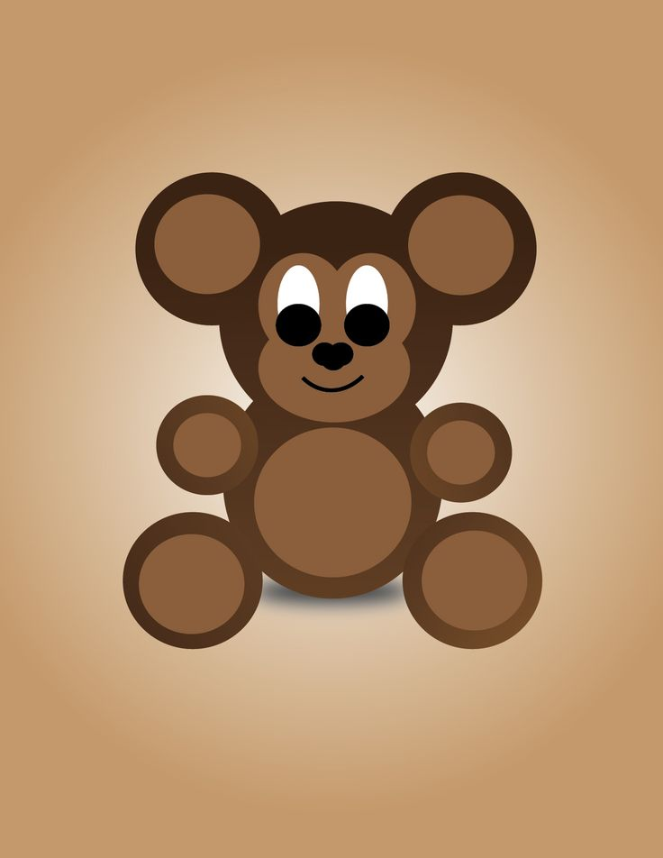 Simple Teddy Bear Illustration by @prettykunenedesigns
