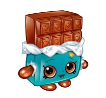 Cheeky Chocolate (Shopkins 1-050, 1-059) Cheeky Chocolate is a brown bar of chocolate with a yellow wrapper (depicted as blue in artwork). Her variant is a white bar of chocolate with a pink wrapper. Cheeky Chocolate is a rare Sweet Treats Shopkin from Season One.
