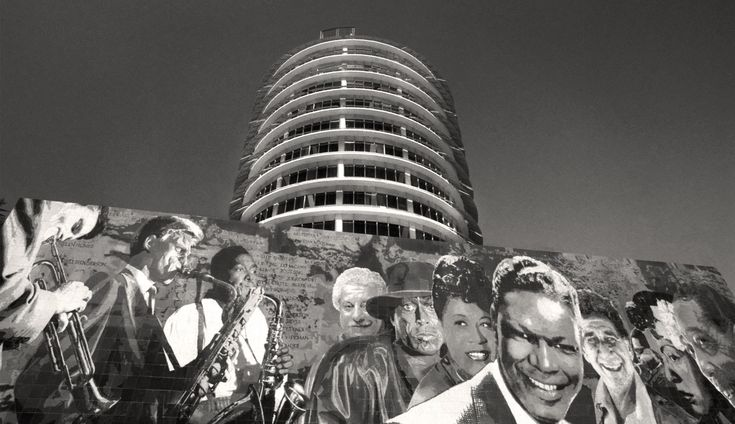 Capitol Records Building, Hollywood - California, Black and White Photo