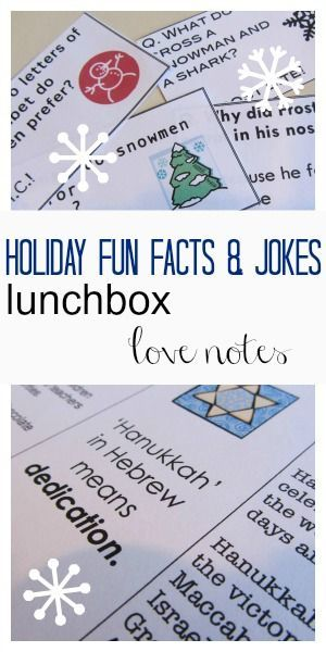 holiday fun fact and joke lunchbox notes --> SUPER fun for holiday season! | hanukkah | kid jokes | PRINT, cut, and throw in lunch boxes!!