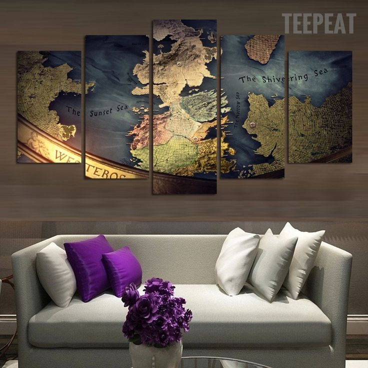 Middle Earth Map 5 Piece Canvas