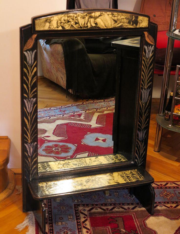 oglinda cu rama patinata si decorata in schlagmetal gravat