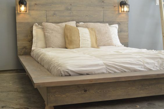 FREE HEADBOARD!! Floating Rustic Wood Platform Bedframe with Lighted Headboard on Etsy, $815.00: