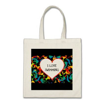 I Love Swimming Sports Editable Modern Abstract Tote Bag - accessories accessory gift idea stylish unique custom