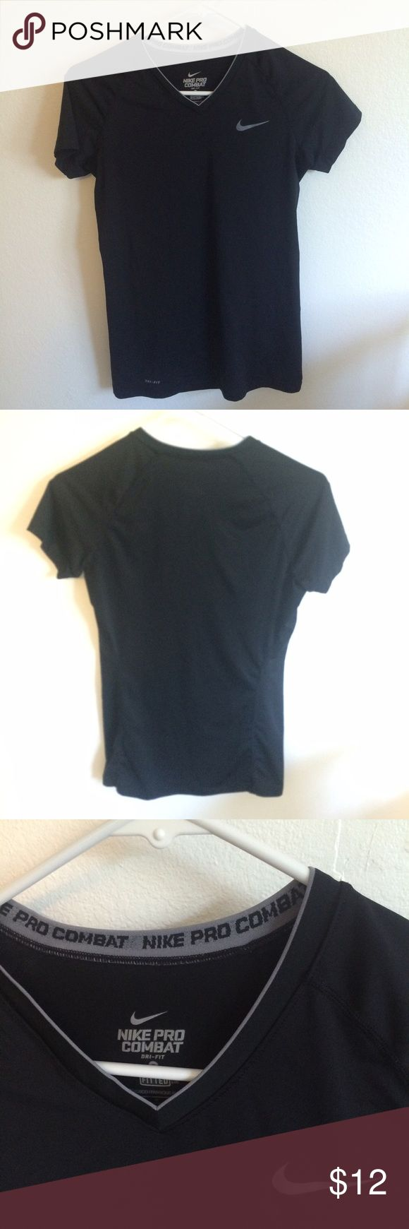 Nike Dri-Fit Black Nike Pro Combat short sleeved Dri-Fit. Fitted v-neck. Worn maybe 3 times! Nike Tops Tees - Short Sleeve
