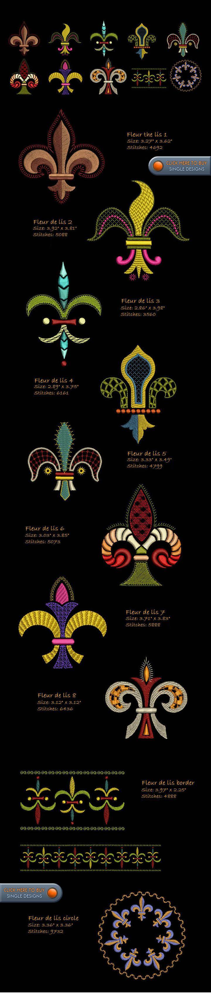 FLEUR DE LIS Embroidery Designs Free Embroidery Design Patterns Applique