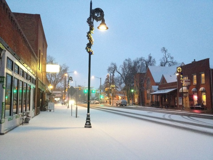 Downtown Berthoud Colorado, winter snow. Photo by Whitney Taylor