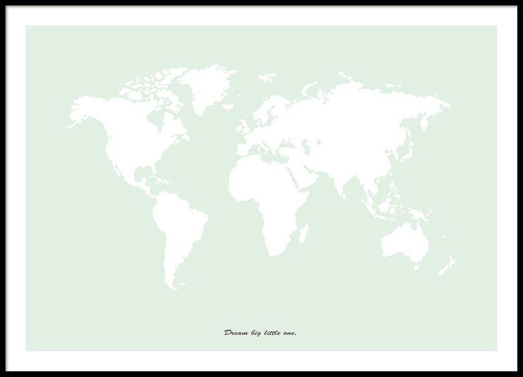 poster met wereldkaart in groen. past goed in de kamers van kinderen en andere kinderen posters.www.desenio.nl