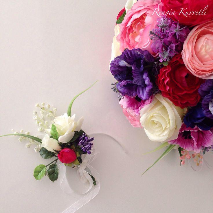 Özel Tasarım Gelin Buketi ve Damat Çiçeği / Bridal Bouquet and Groom's suit's flowers
