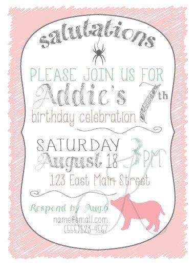 charlotte s web invitation print at home customized birthday