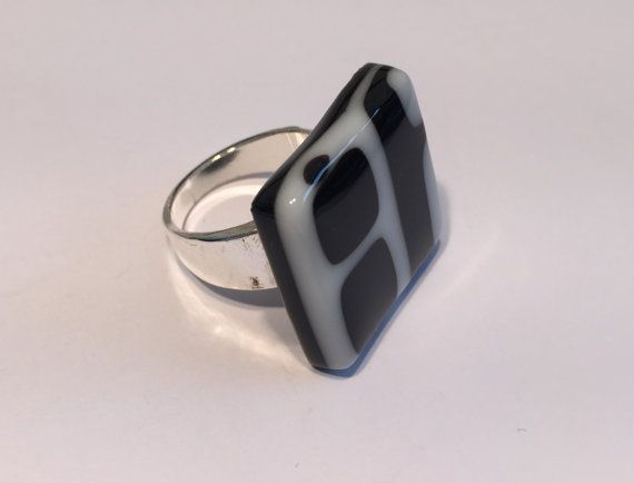 Big black and white fused glass ring,  unique square opaque glass ring, by Spallek Glass Art