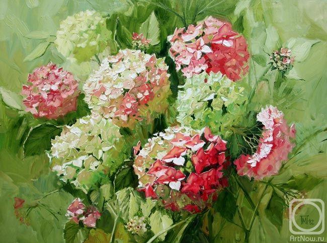 Розовые гортензии. Artist: Maria Pavlova (St. Petersburg, Russia) Художник Мария Павлова.