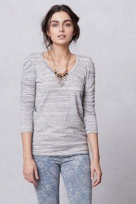 Anthropologie - Ruched French Terry Sweatshirt in Dark Grey