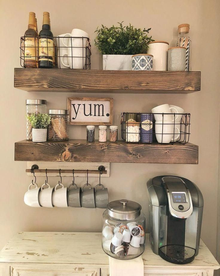 Wooden Shelves - - Display your style with this set of true floating shelves. The shelves come with brackets that are invisible when installed. They are made in the USA with high-grade pine. Each piece is its own creation with rustic character. Coffee Bar Home, Coffee Bar Ideas, Coffee Coffee, Coffee Bar Design, Coffe Bar, Coffee Nook, Morning Coffee, Coffe Corner, Coffee Break