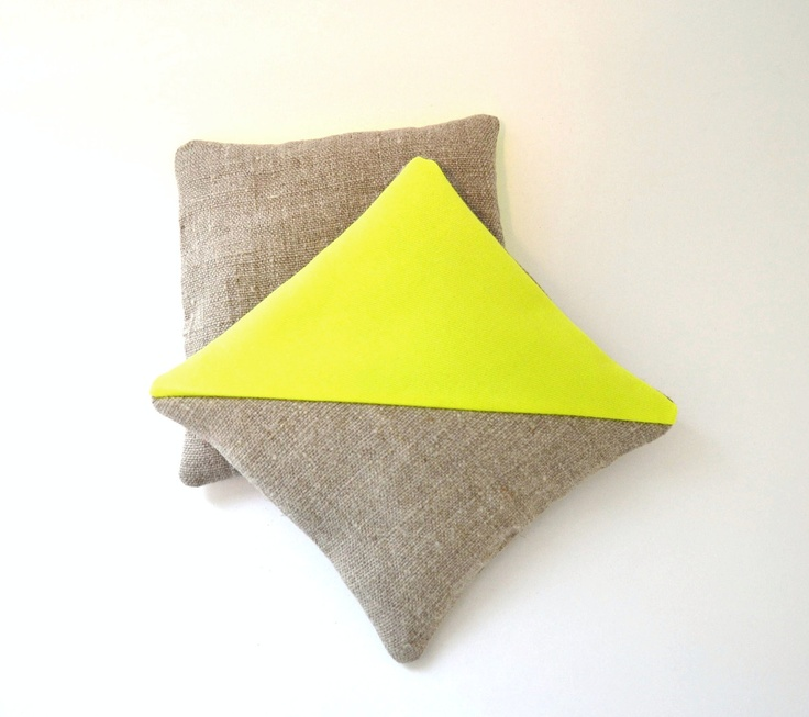 Linen and neon cushions