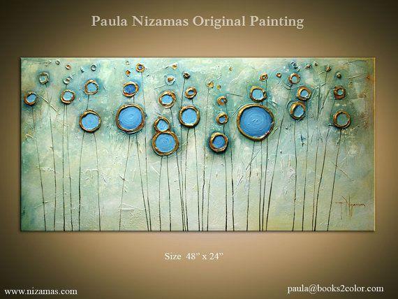 Pintura Original Contemporáneo abstracto moderno, oro, bronce, Rust, Azul, listo para colgar por Paula Nizamas