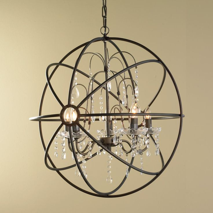 Crystal And Metal Orb Chandelier Delicate Dangling Glass Crystals Add A Luxurious Counterpoint To This Bronze Iron Sphere