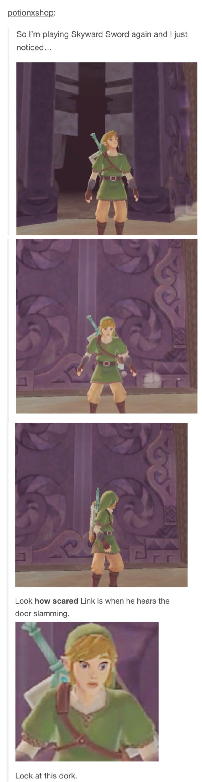 Link may be the holder of the Triforce of Courage but loud noises still scare him.