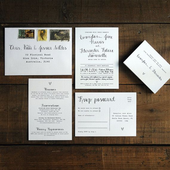 Calligraphy Wedding Invitation Suite & Save the by FeelGoodInvites