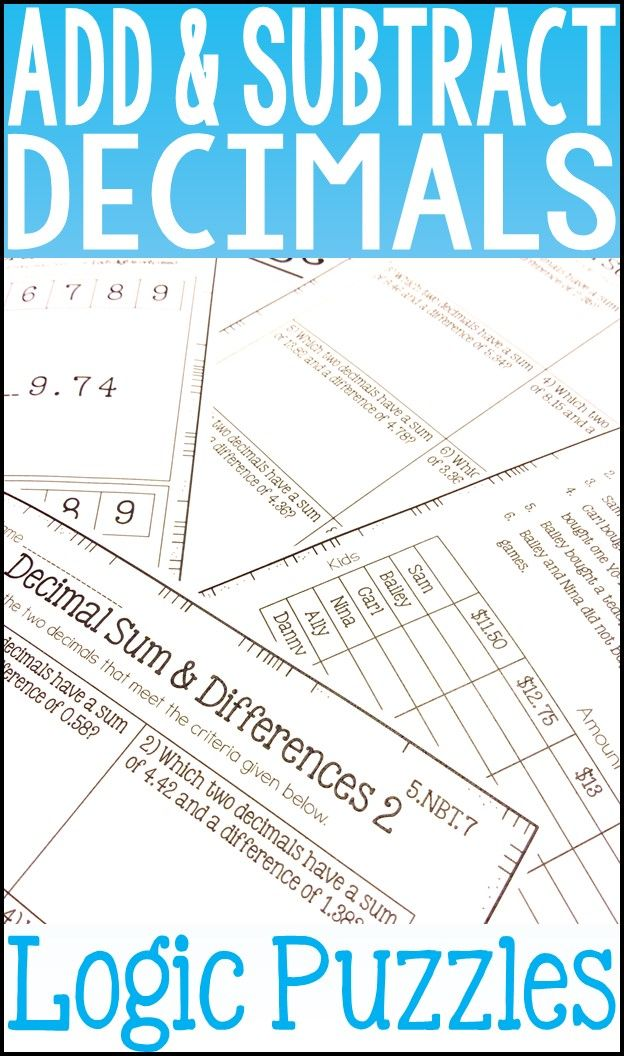 Add and Subtract Decimals Enrichment- Challenge Puzzles are a fun way to challenge your students while they gain a deeper understanding of adding and subtracting decimals. Three different types of puzzles are included: matrix logic puzzles, determine the decimals puzzlers, and missing digits puzzles.