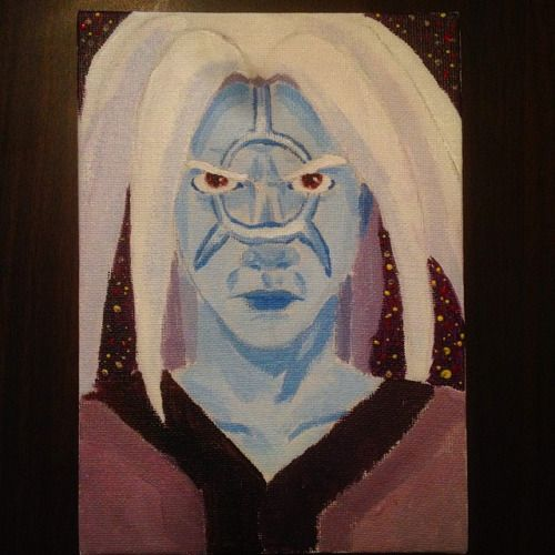 'LightWave' I like the facial shading though I feel the face tattoo's outline doesn't work too well. This is a character from a few stories I wrote years ago.  #Acrylic #Paint #Painting #LightWave #Alien #Human #Male #Dude #Telepathic #Telepathy #Telekinetic #Vampire #Galaxy #Space #Blue #Hair #Face #Eyes #Brown #Angry #Anger #Emotion #Portrait #Blazer #Stars #Suit #Jacket #Atmosphere #Stratosphere #Cosmos #StormerArt