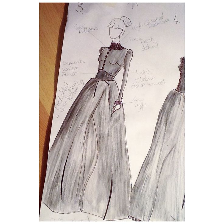 Original Sketch for the Governess Dress in The Turn of the Screw. Costume Design by Samantha Kennedy
