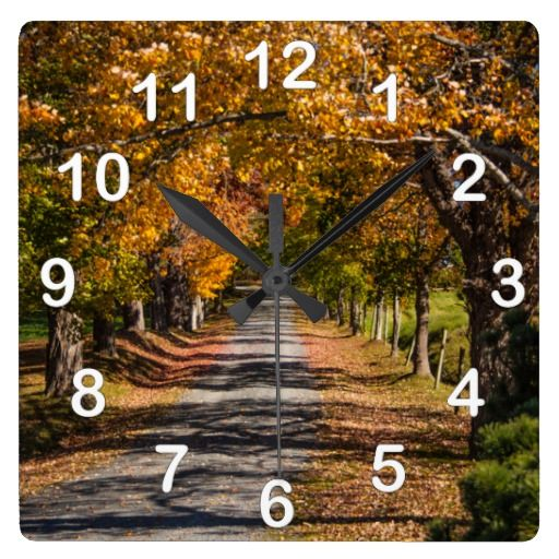 Autumn Colors on a Country Road Square Wall Clocks