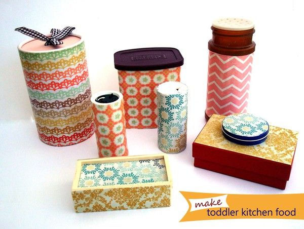 mod podge scrapbook paper onto empty containers for play kitchen items