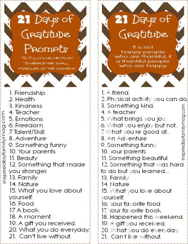 21 Days of Gratitude Printable Prompts