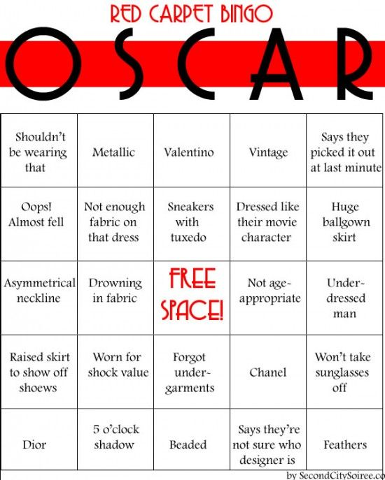 Red Carpet Bingo - great for any awards show party with friends. Tons of Oscar Party Ideas and printables