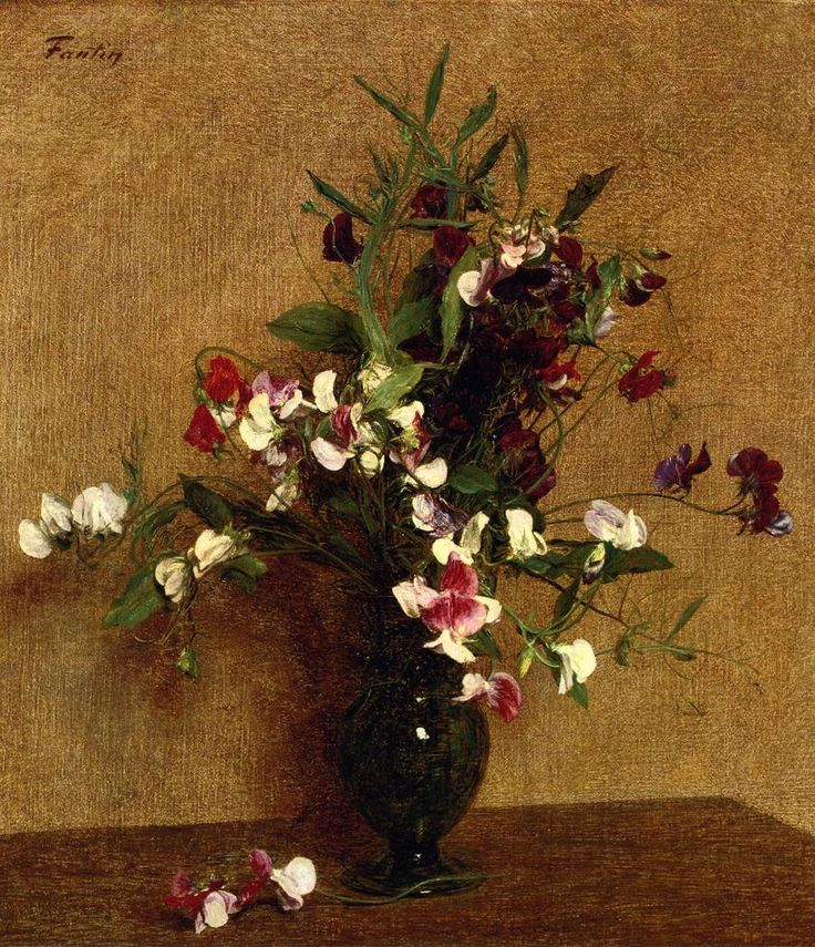 Sweet Peas in a Vase - Henri Fantin-Latour -  Style: Realism -  Genre: flower painting - WikiArt.org