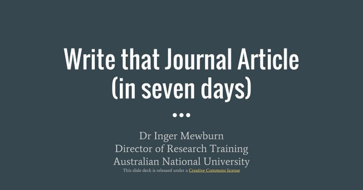 Write a journal article in 7 days