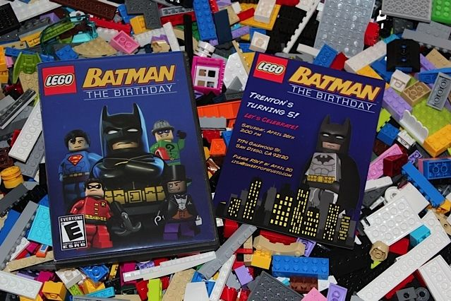 Awesome invitations from a Lego superhero boy birthday party! See more party ideas at CatchMyParty.com!