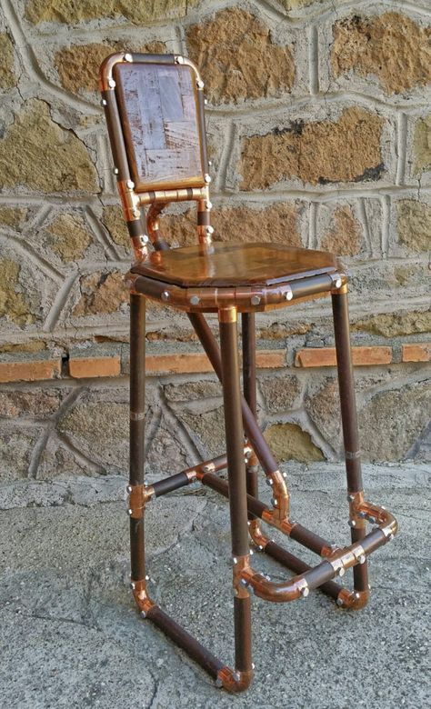 Reclaimed Copper Pipe Stool And Reclaimed Wood Industrial Chic