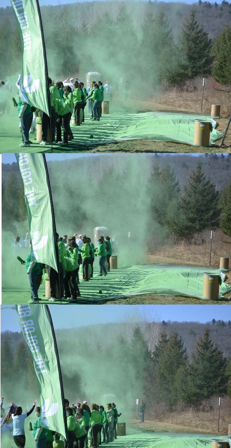 Dust devil appears at the green arches. The Color Run 5k at Broome Community College 4/6/14
