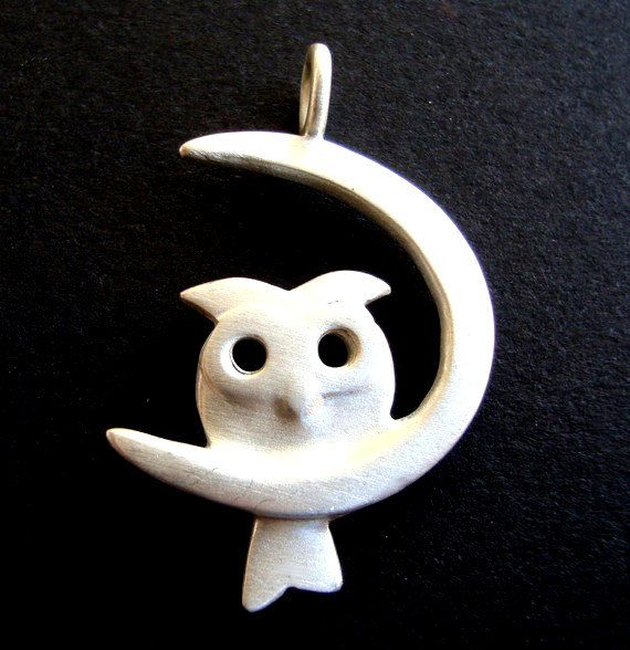 Owl Necklace Owl on the Moon Necklace Twilight by zoozjewelry