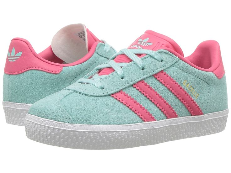 adidas Originals Kids Gazelle (Toddler) Girls Shoes Energy Aqua/Super Pink /Gold