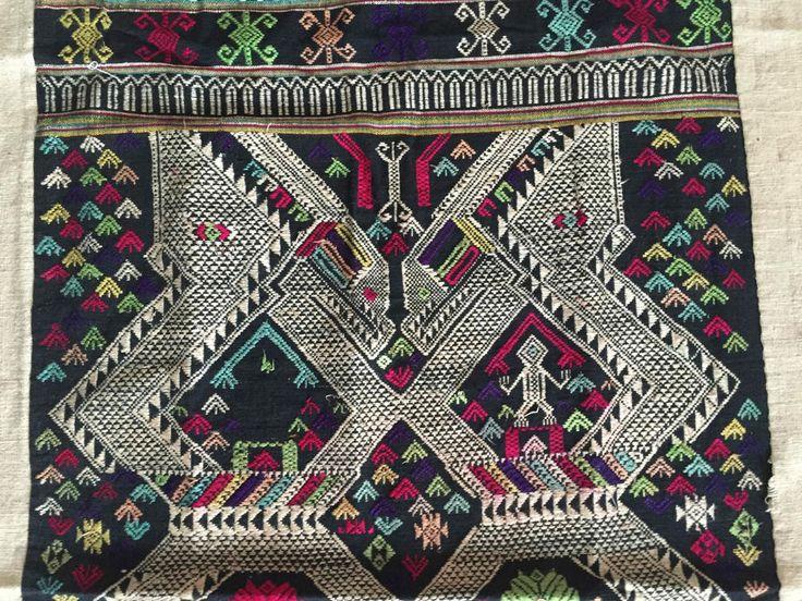 Beautiful vintage handmade laotian weaving with human figure - laos
