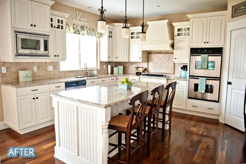 #walnut floors, #white cabinets, #kitchen