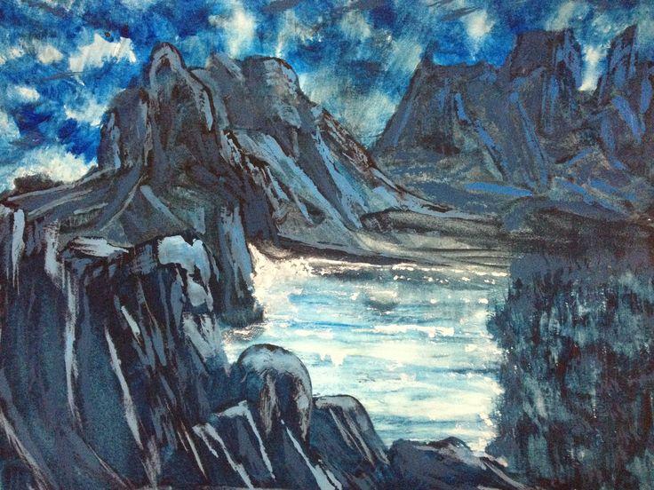 Mountain range water colour
