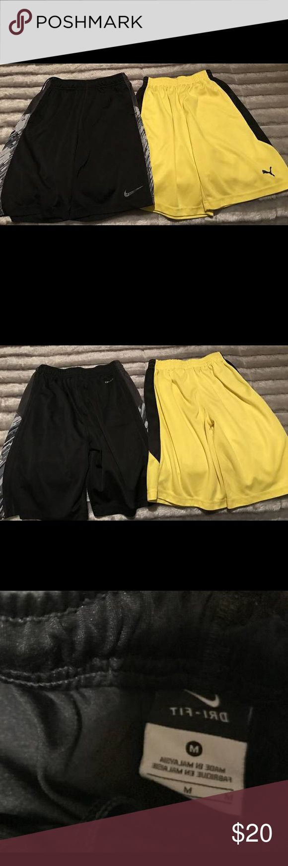 Two Boys Nike Shorts Both are a size medium, one is black, No holes or stains, Like New, other is bright yellow & black, brand is Puma, no stains or holes, small snag on the back at the top right side, both for 20!! Nike Bottoms Shorts