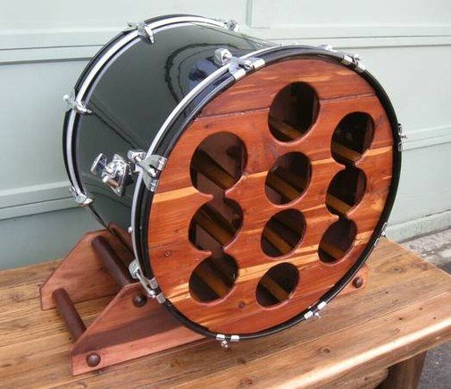 Upcycled custom made bass drum wine rack drums tack and for Repurposed drum shelf