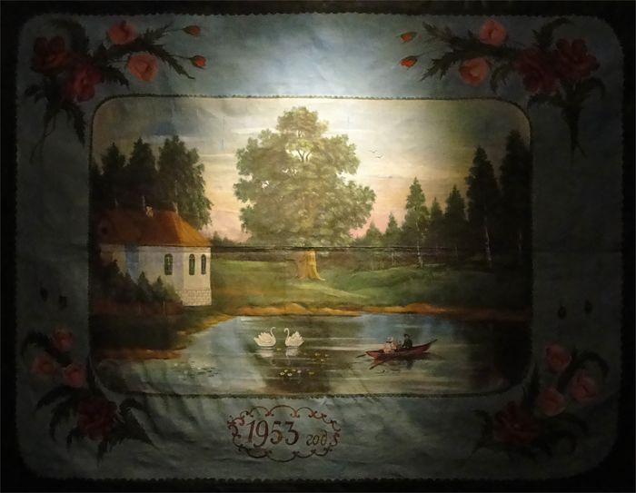 Расписной ковёр Пейзаж с озером. Маляваны дыван