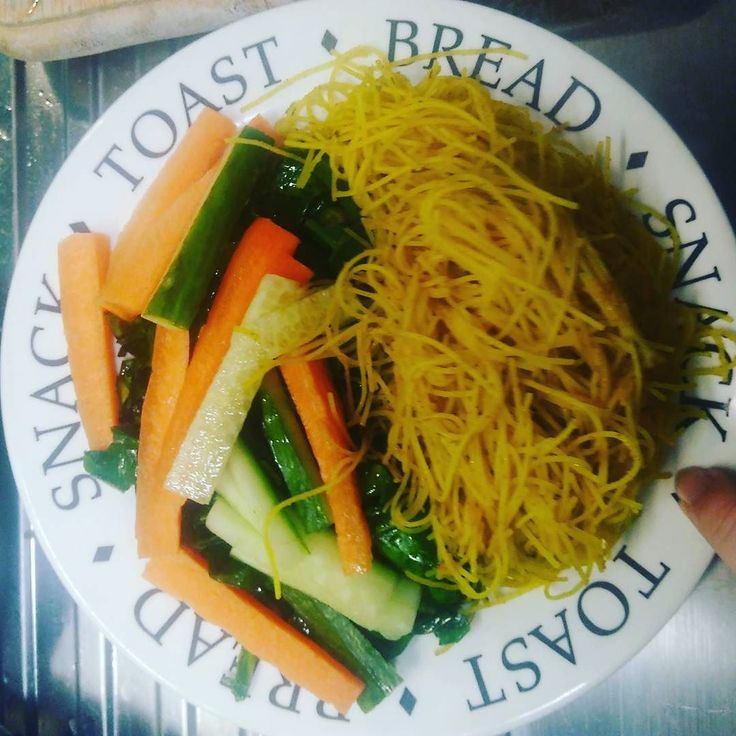A mix on #thugkitchen Vietnamese salad with spring greens and slightly curry noodles.