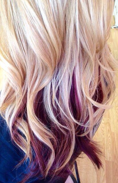 Beautiful hair color... Black cherry under blonde